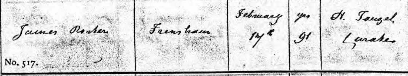 James Porter Death Record, Frensham
