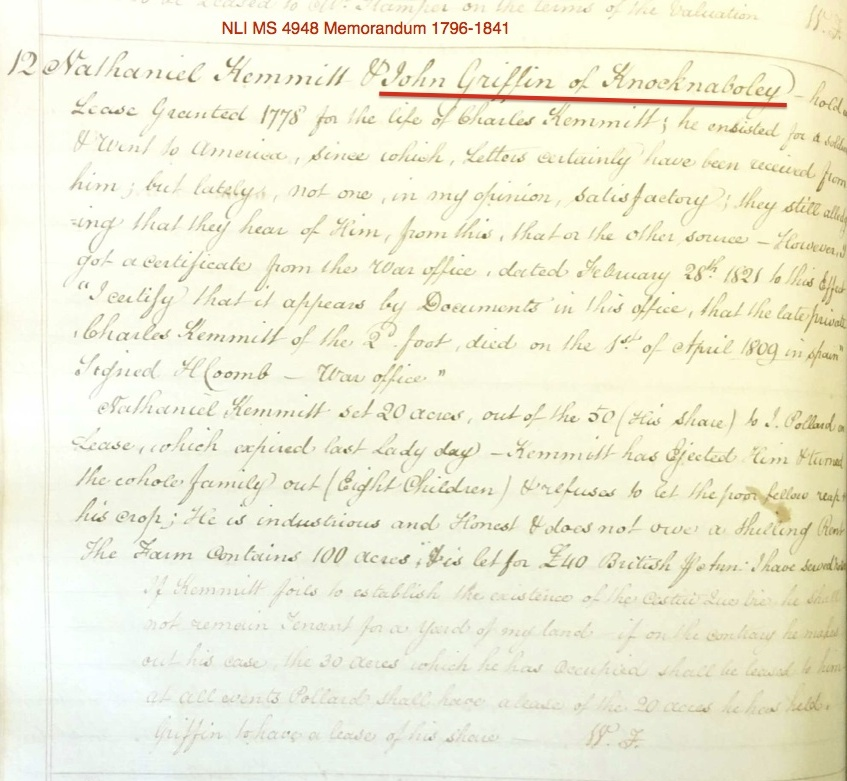 Revision of Kemmitt/Griffin Lease in 1821.