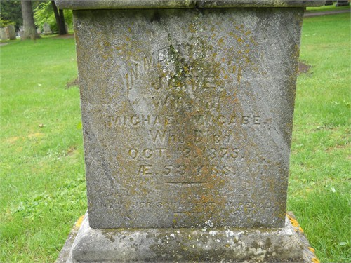 Jane Muldoon McCabe's Tombstone