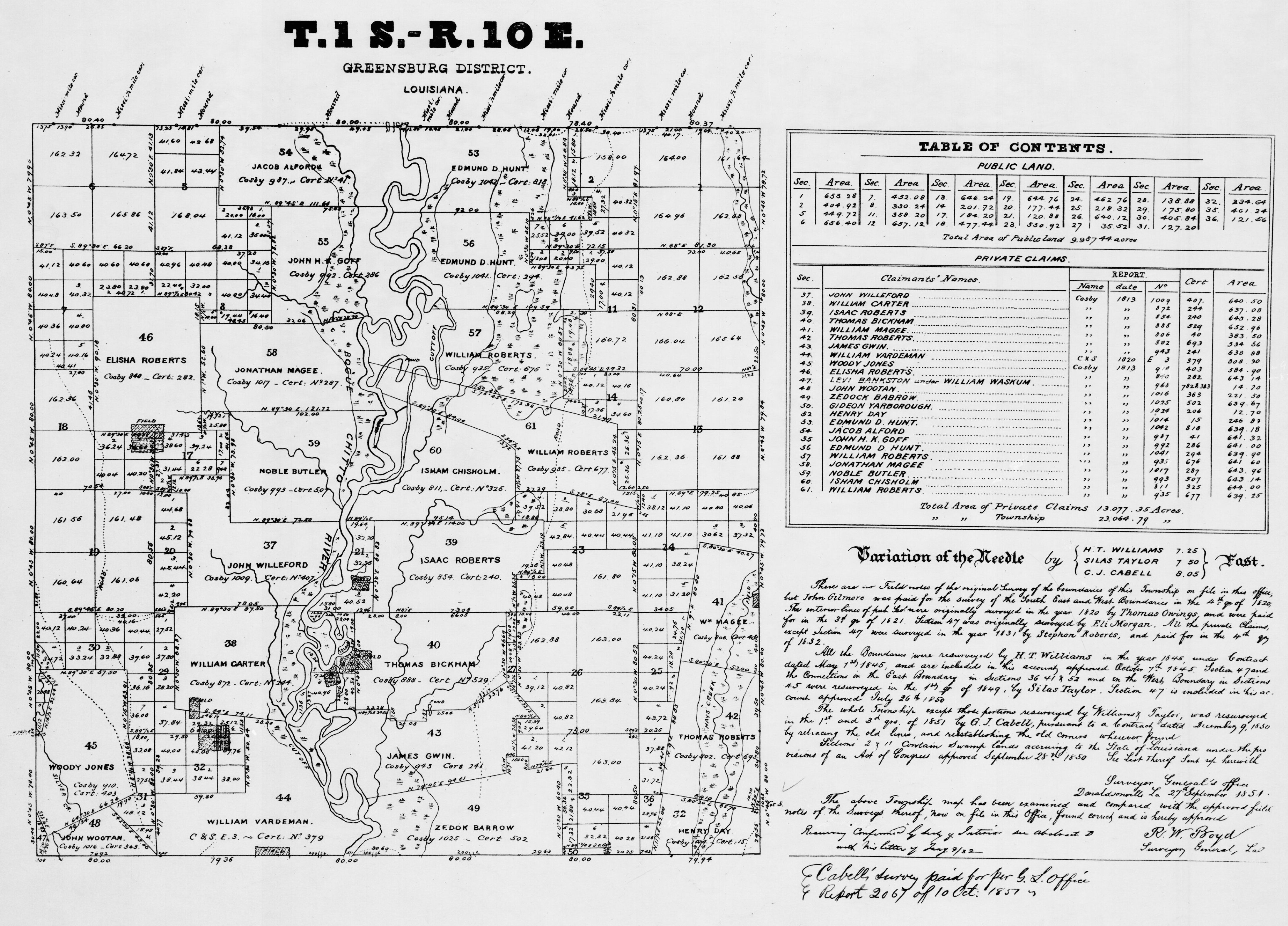 Ownership Map of T1S R10E St Tammany in 1813