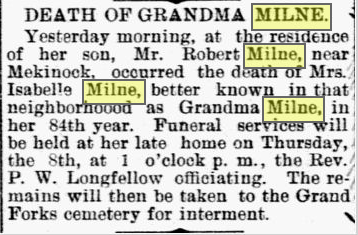 Obituary of Isabella Booth SCOTT Milne