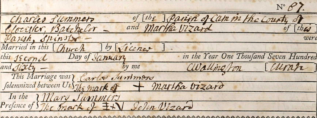 Charles Summers & Martha Vizard Marriage Entry