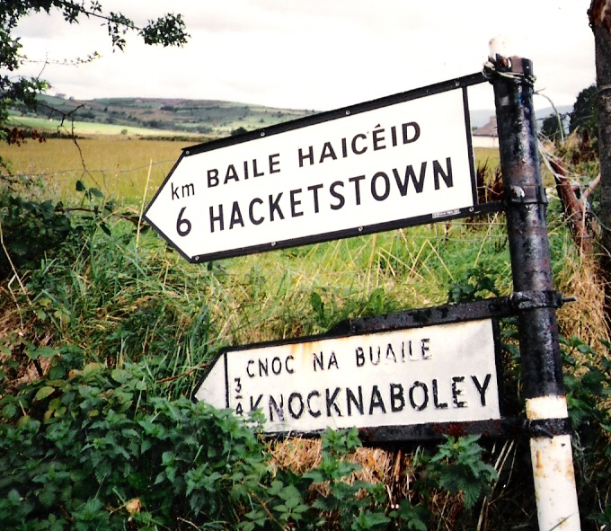 Road sign to Knocknaboley, Wicklow -Thomas' birthplace