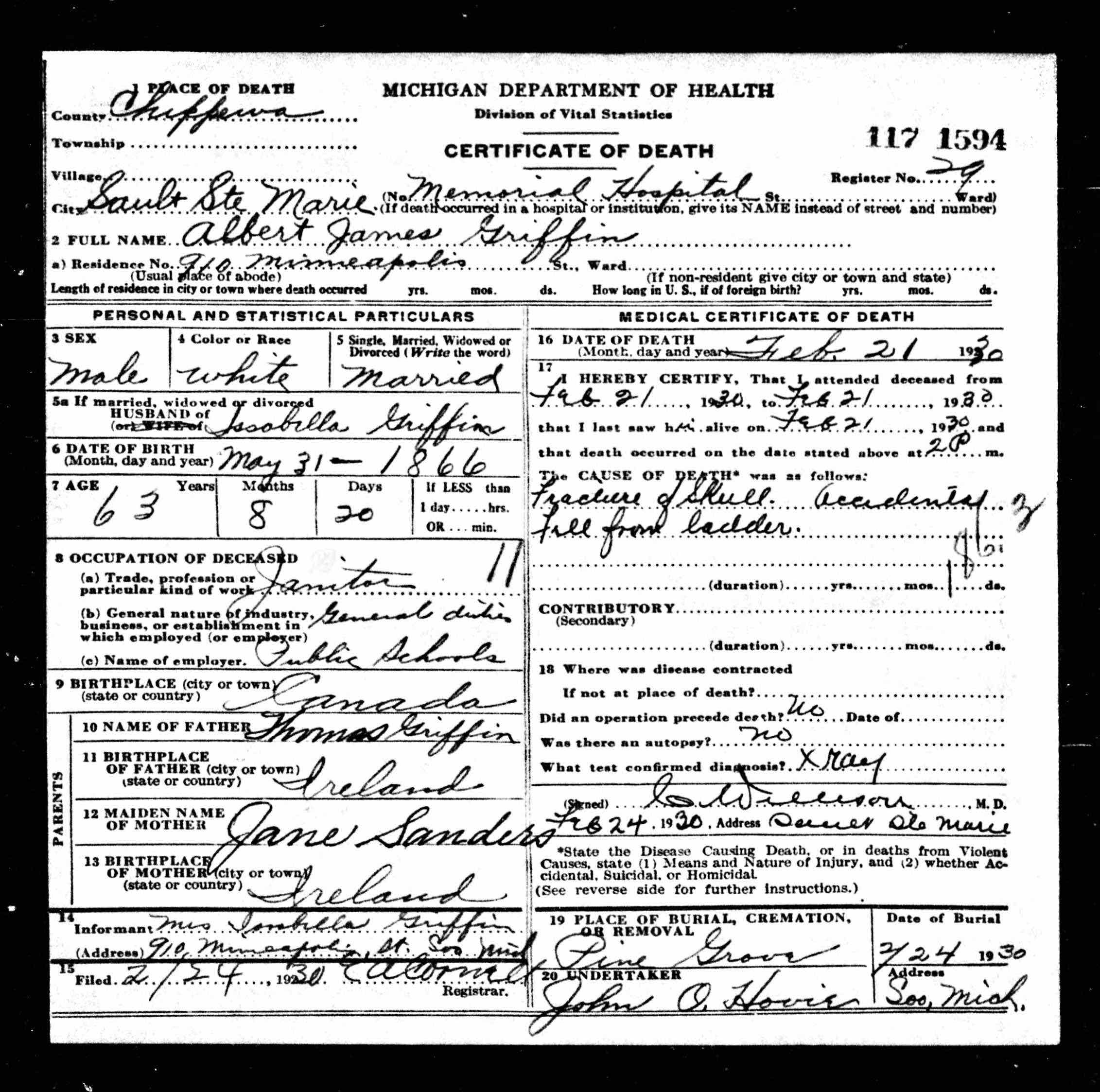 Albert James Griffin Death Certificate