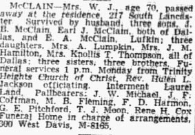Obituary For Nimmie McClain in Dallas Paper