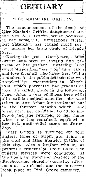 Obituary of Marjorie Griffin, 1919