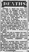 WA Boyd Obituary in 1934