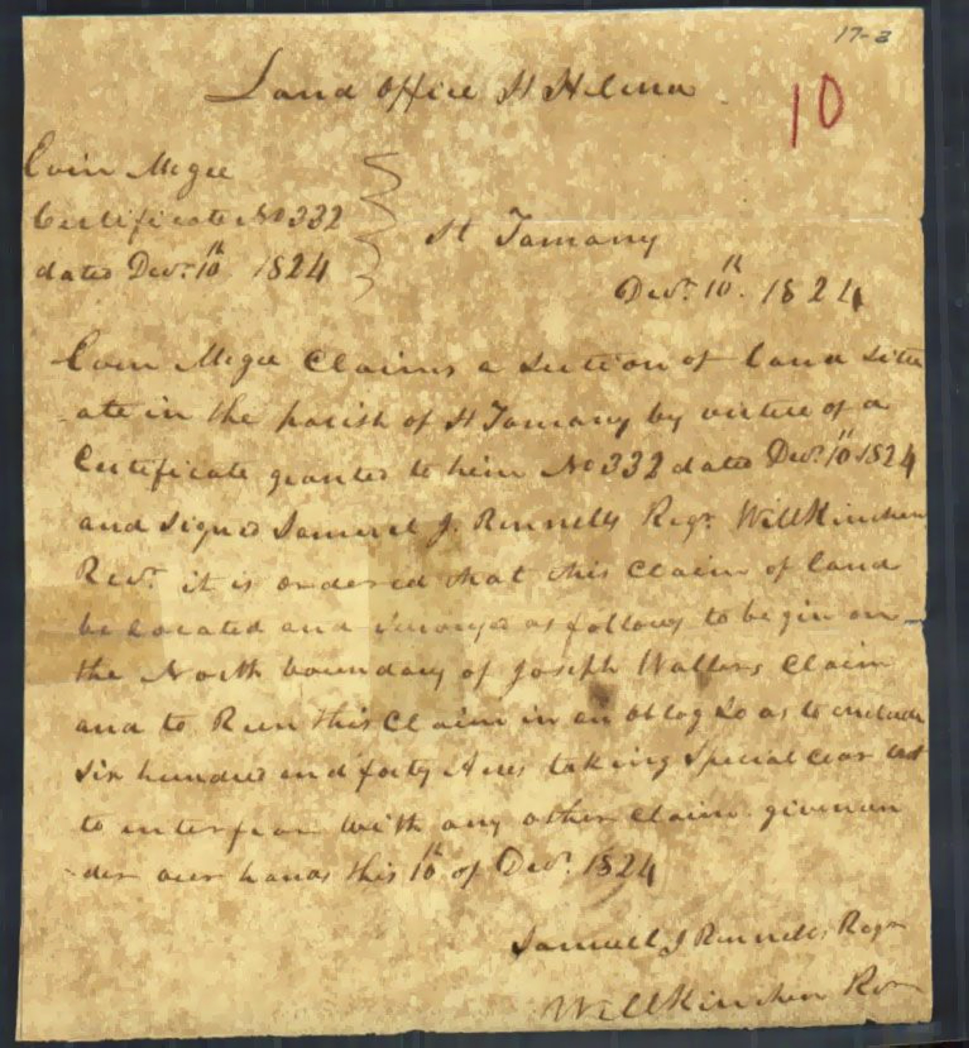 Letter for Land Certificate 332 for Evan Magee