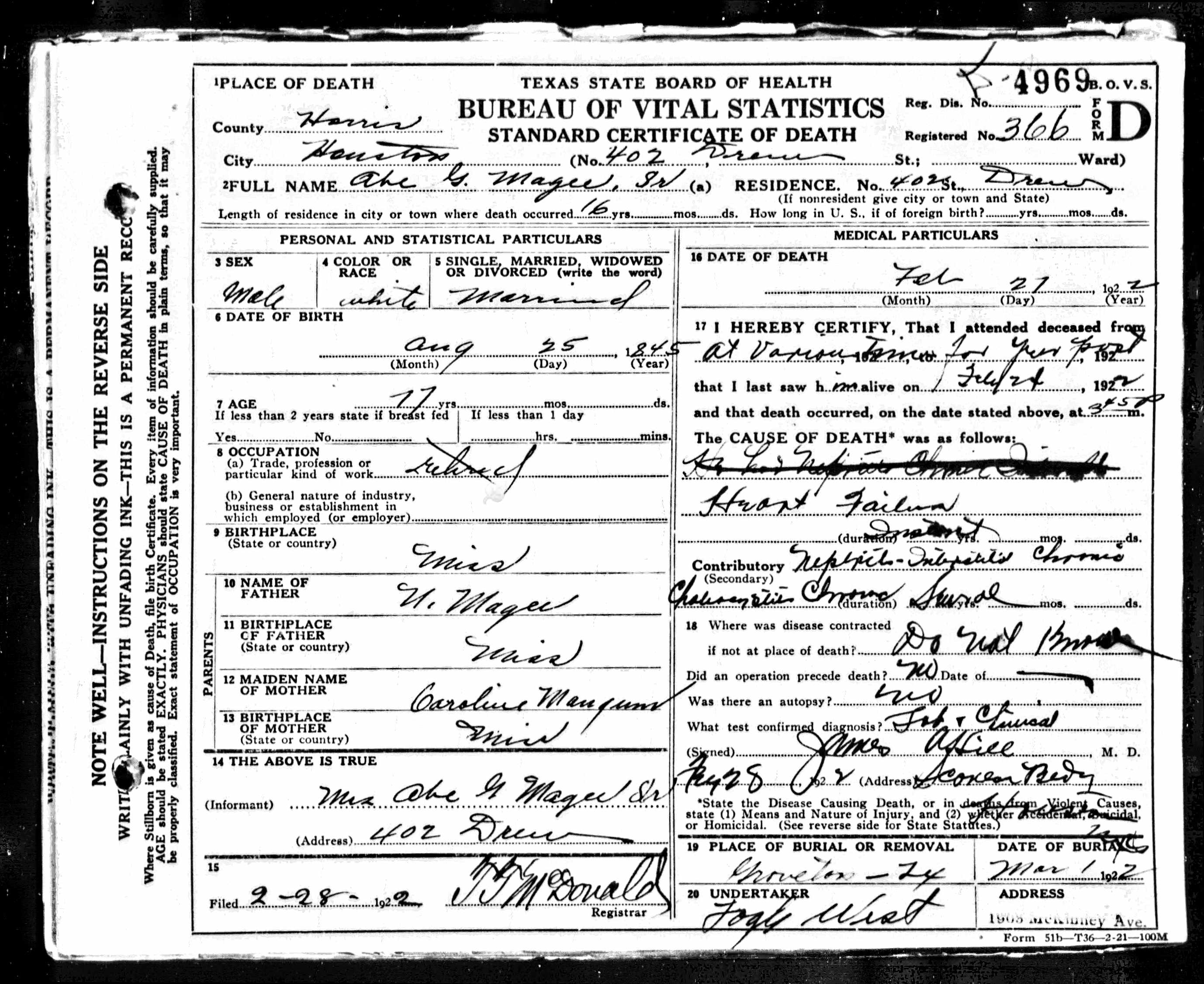 Abe Magee Texas Death Certificate