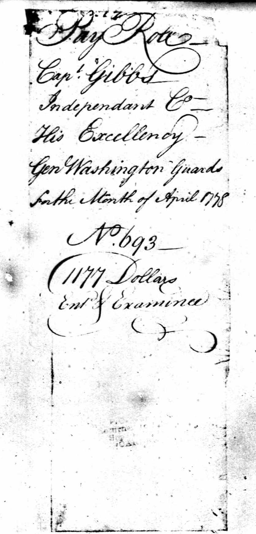 National Archives Cover Sheet for Muster in march 1778