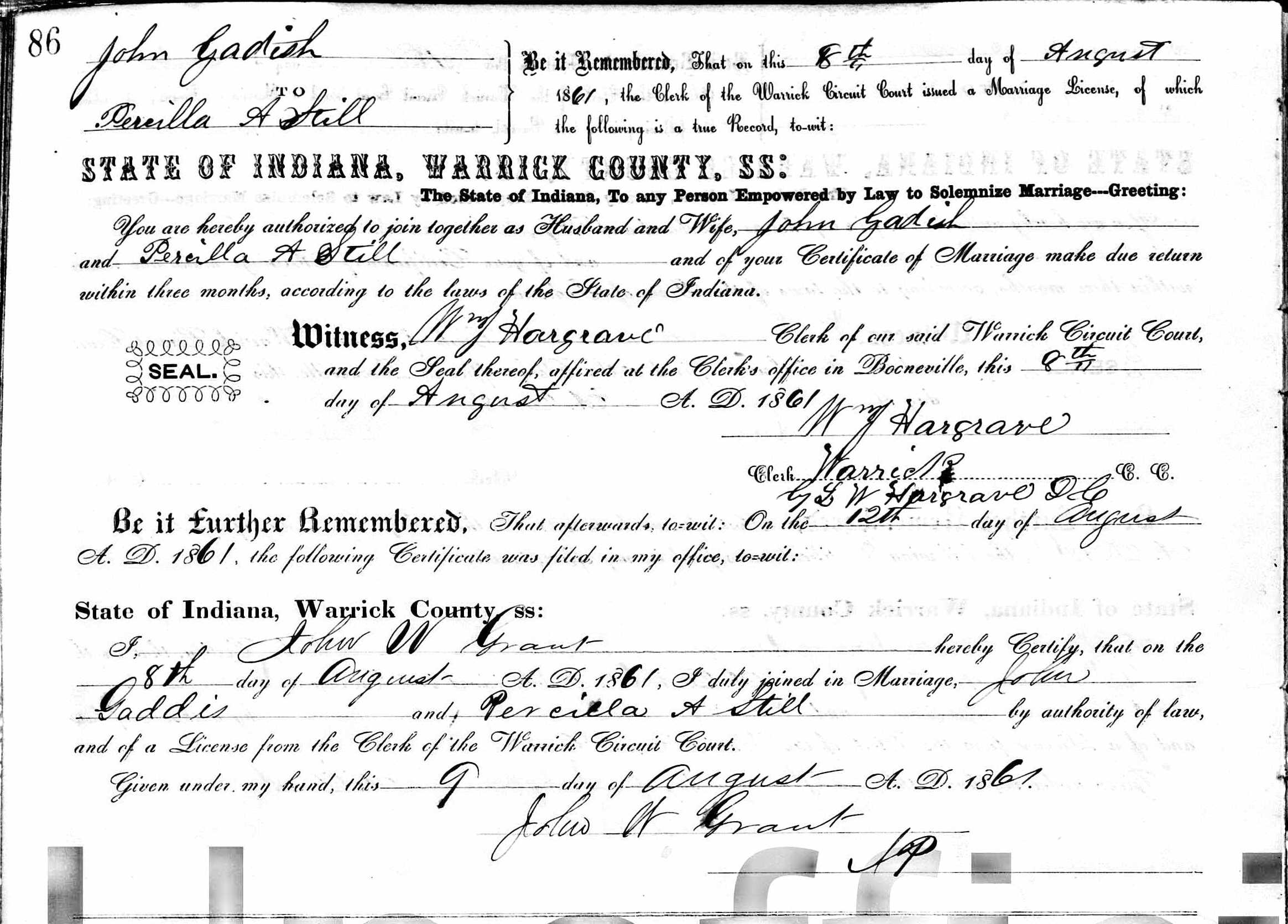 John Gaddis and Priscilla Marriage License