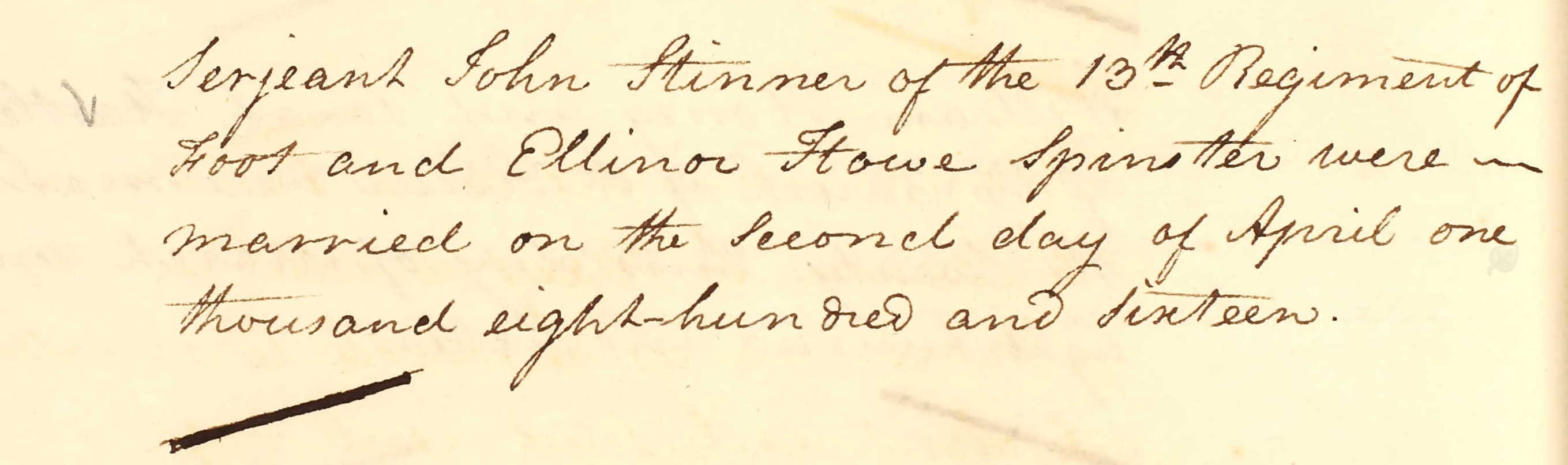 Marriage Entry for Sergeant John Stinner and Elinor Hill
