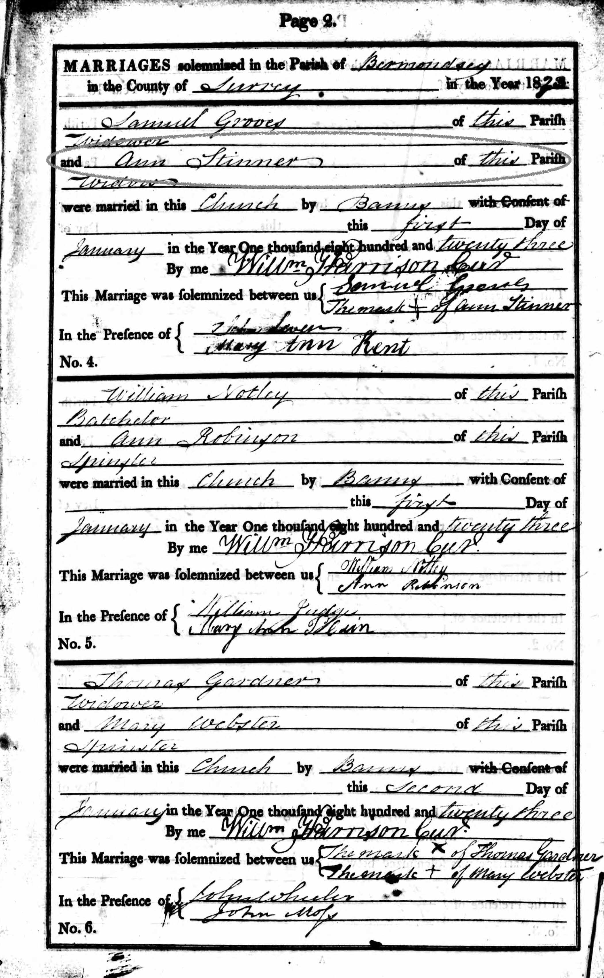 Marriage Entry for Ann Porter Stinner and Samuel Groves