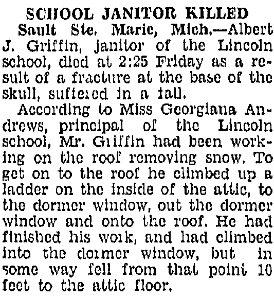Albert died when he fell from Lincoln school roof (where he was a janitor.)