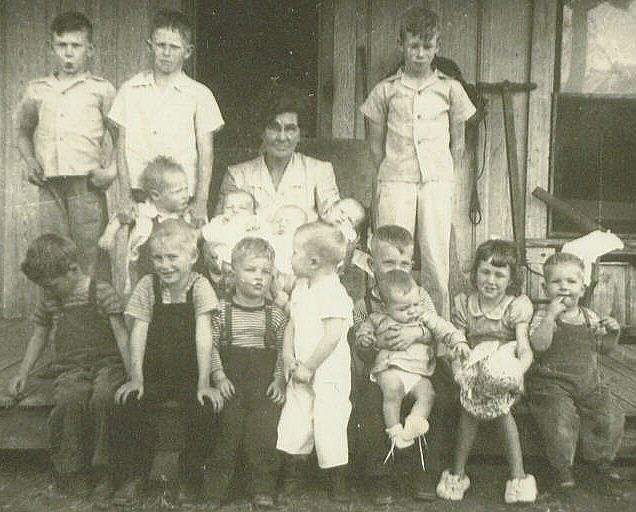 Alta (Pet) and Lots of her Grandkids, Christmas 1944