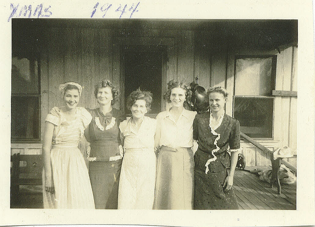 "Alta and some of her ""daughters"" in 1944"