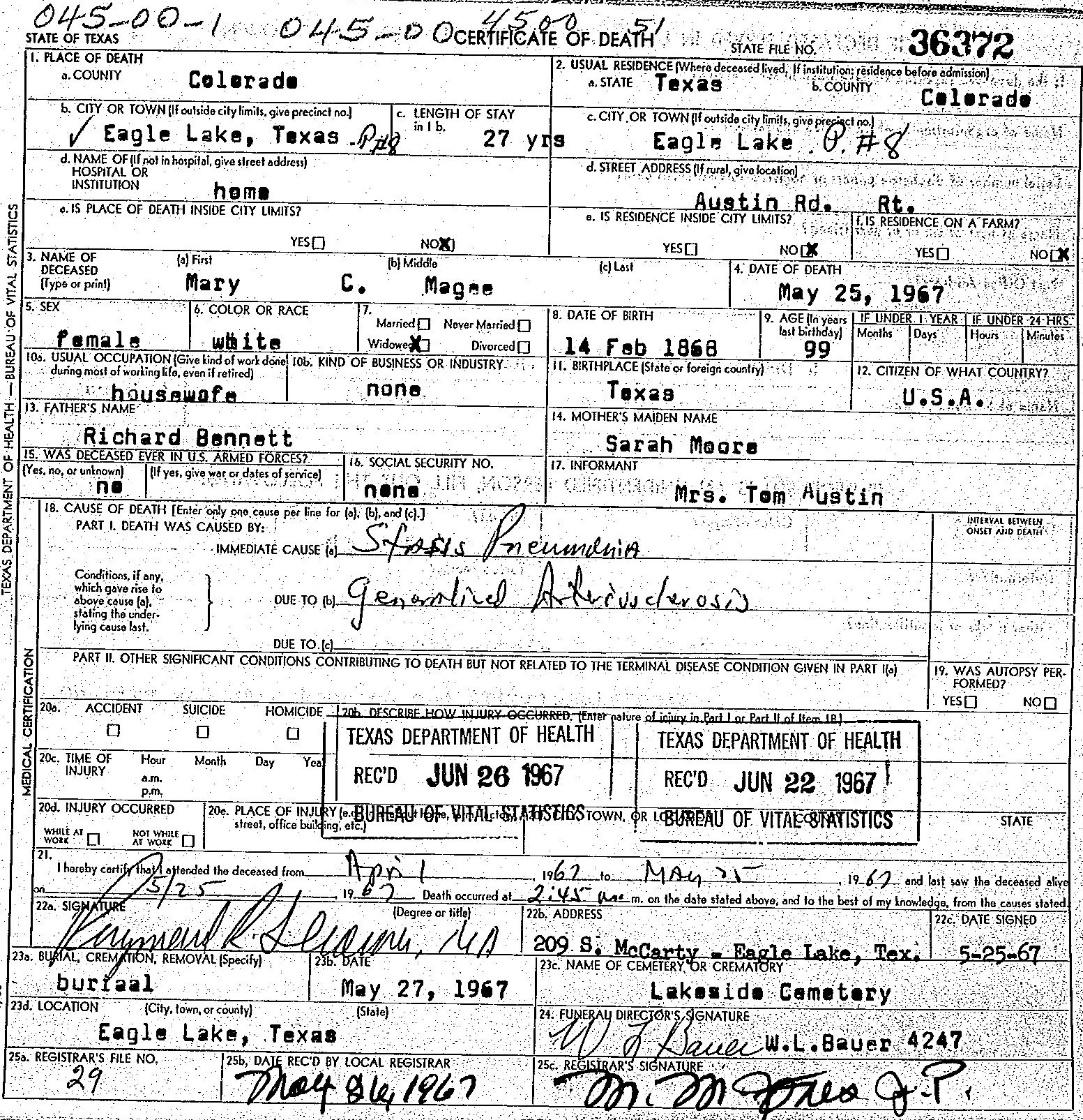 Mary's Death Certificate
