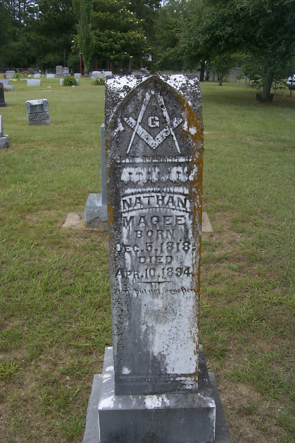 Nathan's tombstone in Ellis Prarie