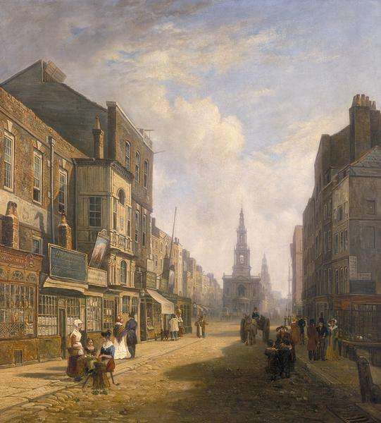 Painting showing St Mary Le Strand circa 1824