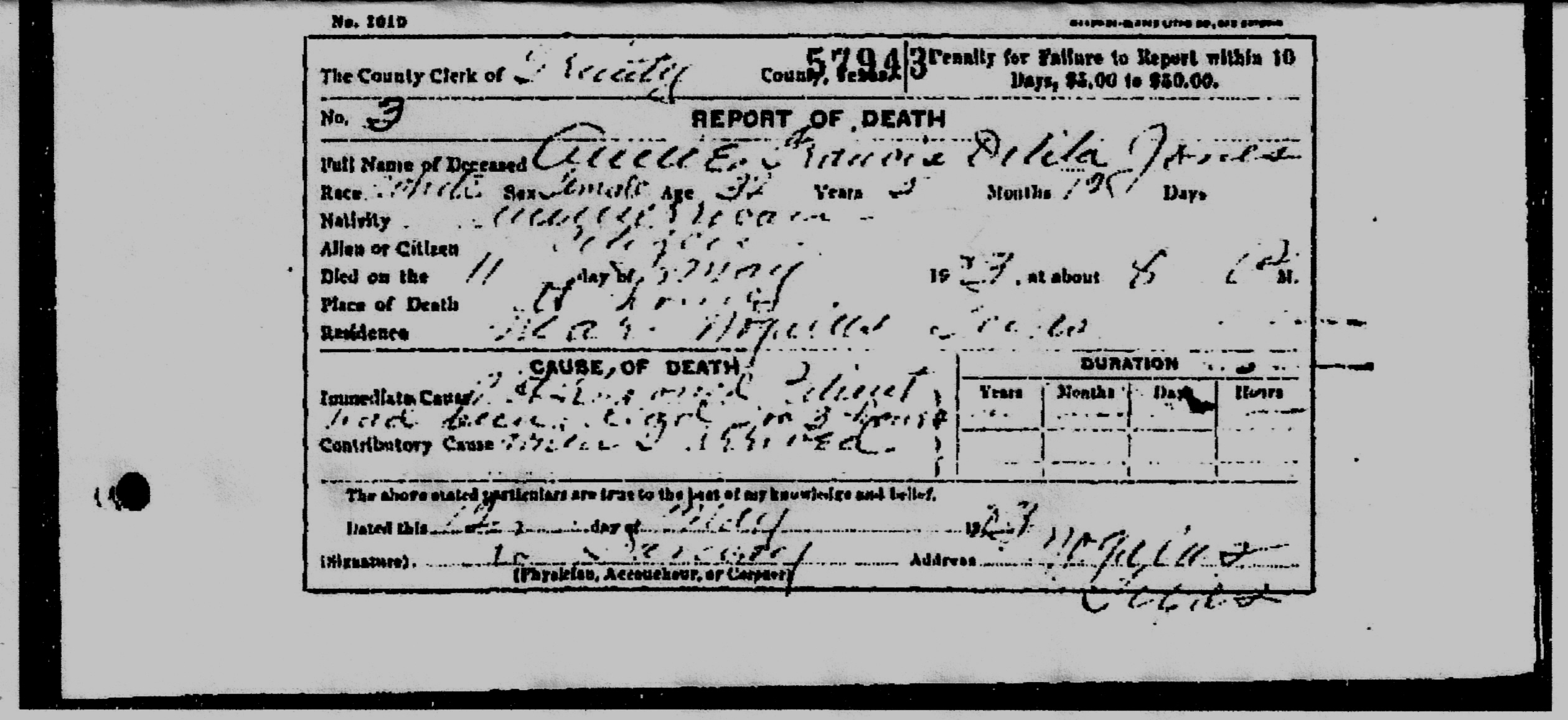 Faded Death certificate from Trinity Co