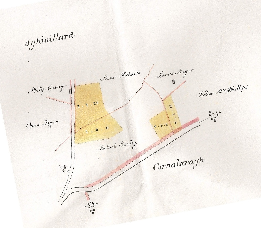 1840 Map where Richards family lived in Magheracloone (Shirley Estate Bog Map)