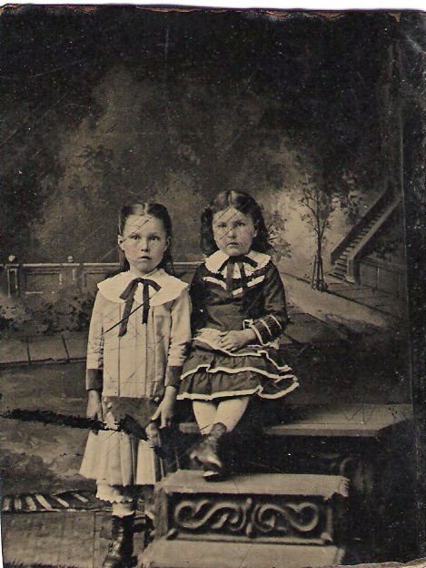Probably Lotta and Dolores Griffin - Tintype