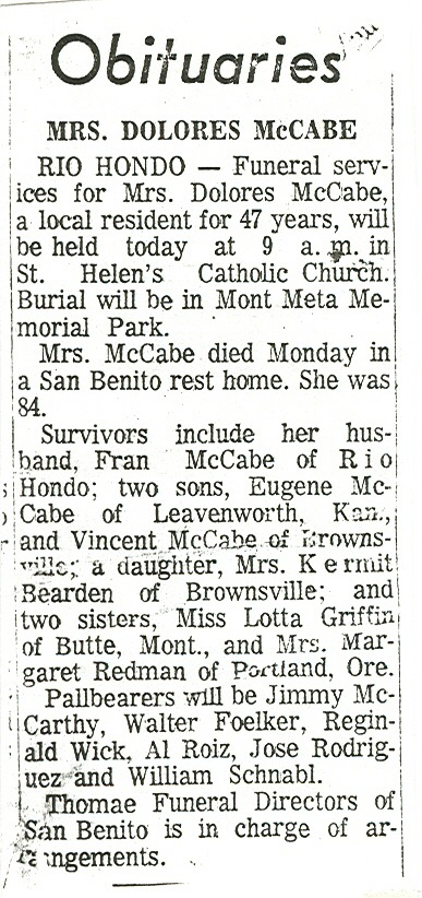 Dolores' Obituary