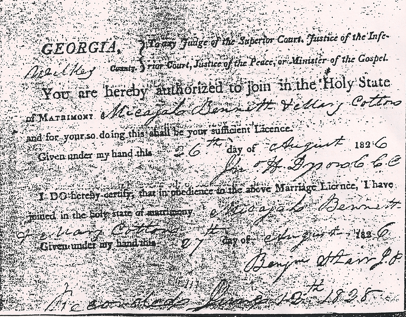 Copy of Official Marriage Book Entry
