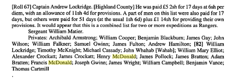 Capt Lockridge's Roster Shows Henry and Francis McDonald