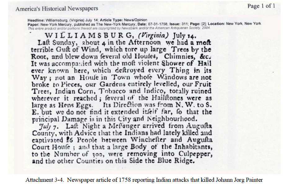 New York Mercury Newspaper Article July 31, 1758