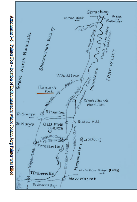 Map Showing location of Painter Fort in Shenandoah Valley