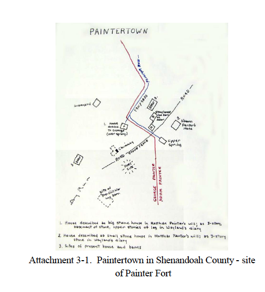 Drawing showing the layout of the Painter Farm