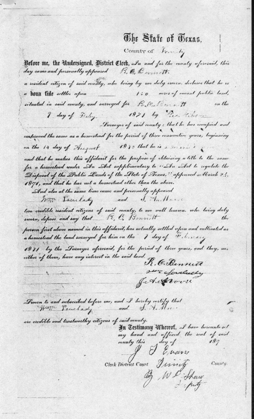 Land Patent Record From Trinity Co (With Signature)