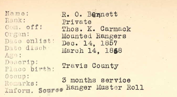 Texas State Archives Muster Record Index Card