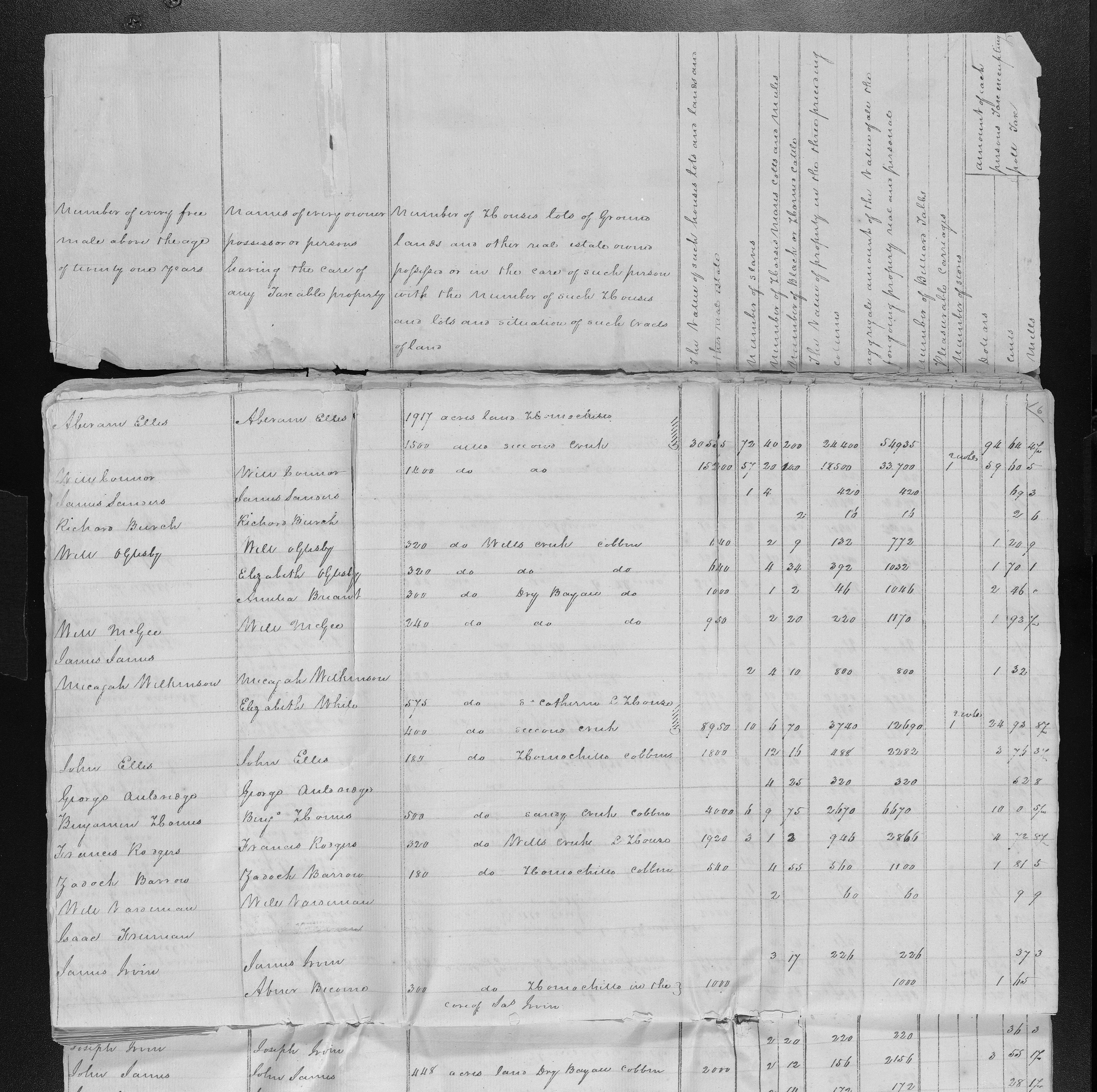 Will Magee, Richard Burch and various James men on 1805 Tax List Adams Co MS