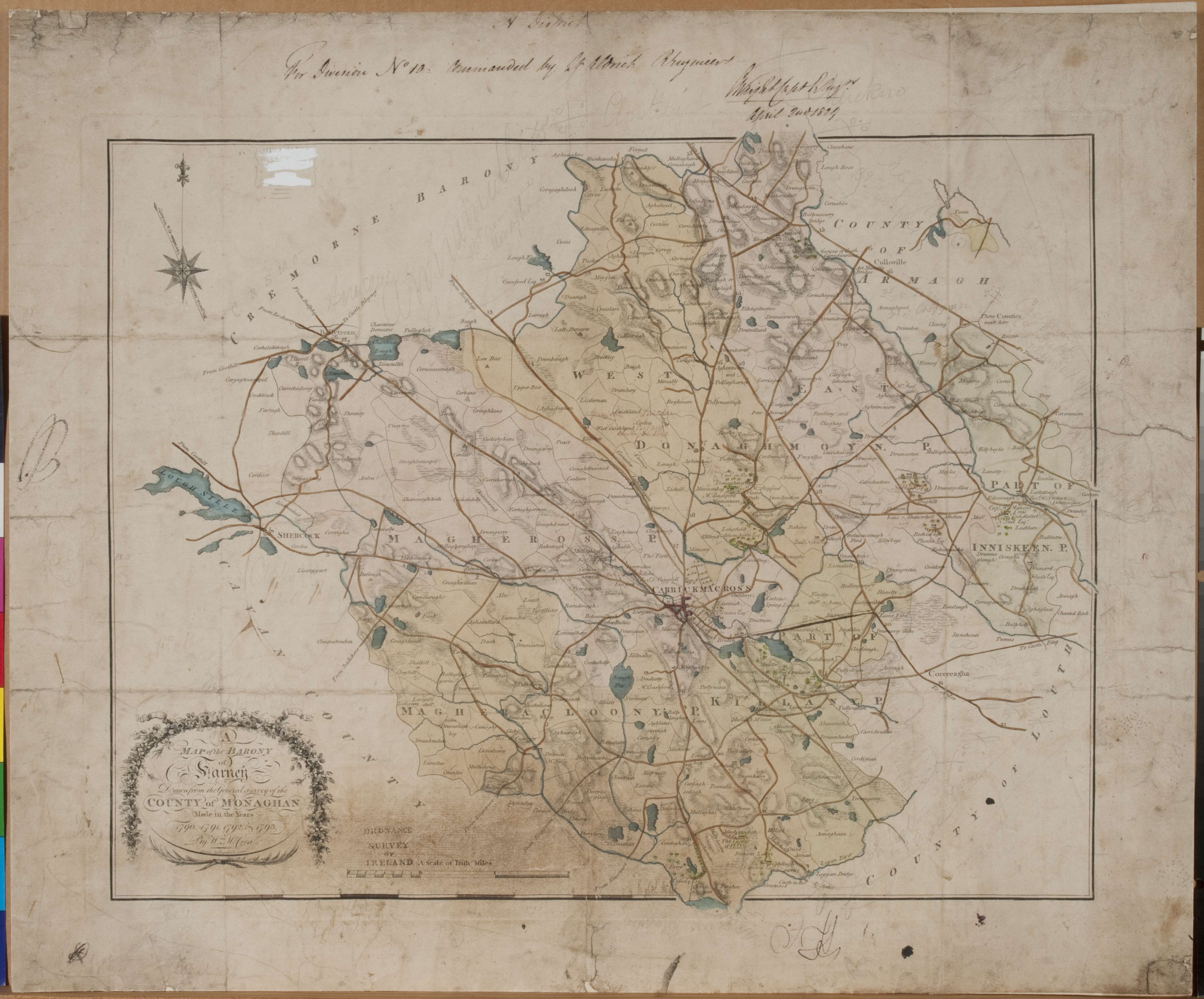 Old 1790 Map of Farney Found in Warckishire Archives