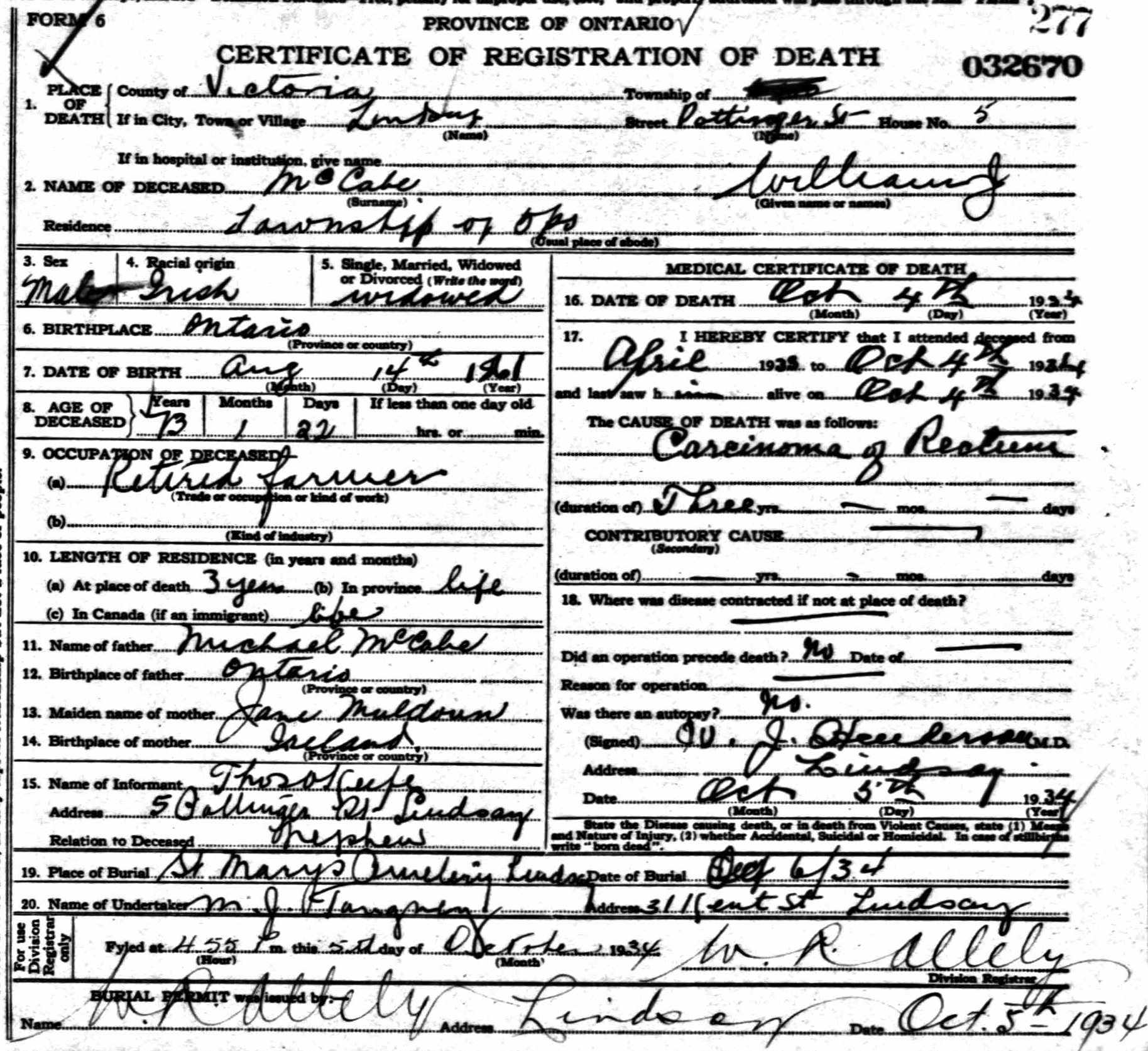 William John McCabe Death Certificate