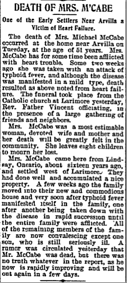 Obituary of Mary McCabe Nov 19,1897