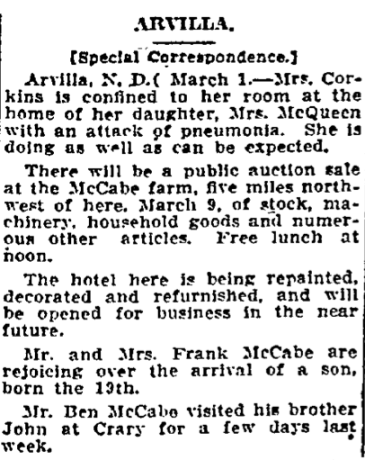 Article in Grand Forks Herald, Mar 2 1912, Mentions Birth of Vin