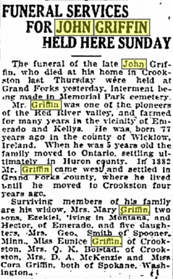 John Griffin Obit in Grand Forks Herald